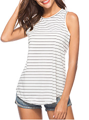 Summer  Cotton  Women  Round Neck  Striped Sleeveless T-Shirts