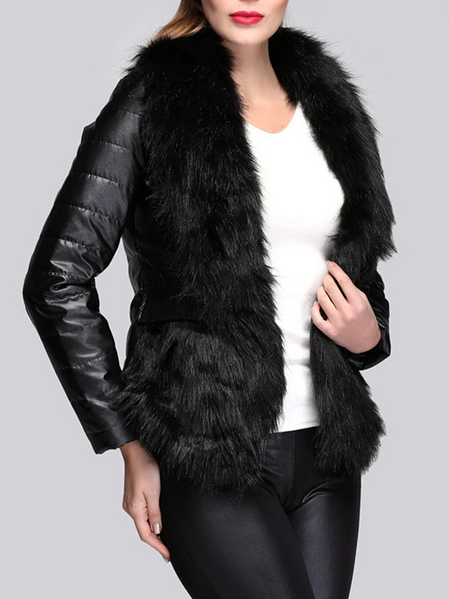 Black Faux Fur Collar Quilted PU Leather Padded Coat