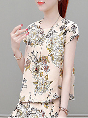 Polyester  Round Neck  Abstract Print Printed  Short Sleeve Short Sleeve T-Shirts