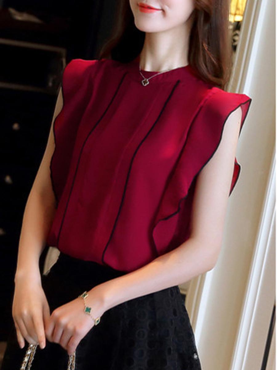 Spring Summer  Polyester  Women  Band Collar  Cascading Ruffles  Plain  Extra Short Sleeve Blouses