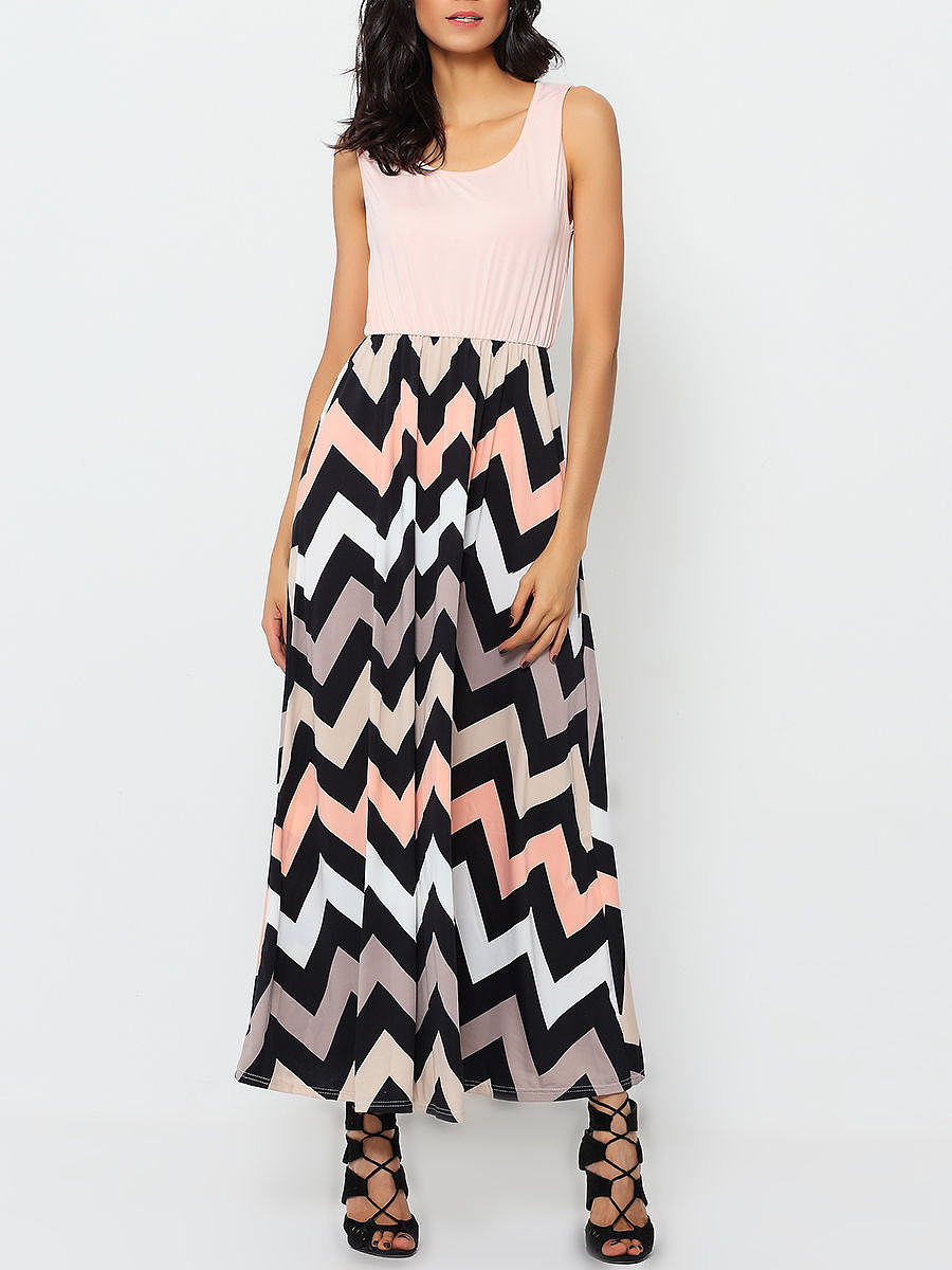Round Neck Blended Striped Maxi Dress