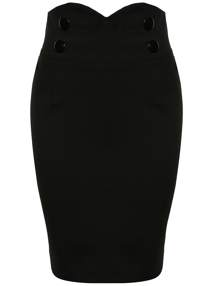 Decorative Button Plain Slit Pencil Midi Skirt