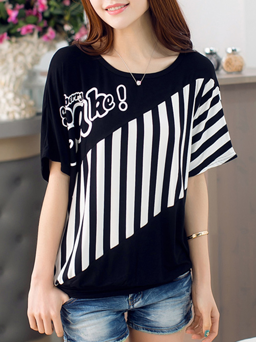 Round Neck Letters Vertical Striped Batwing Sleeve T-Shirt