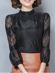 High Neck  Patchwork  Lace Blouses