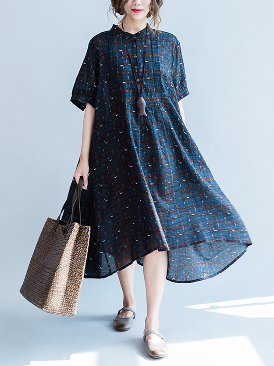 Oversized Band Collar Printed Maxi Dress