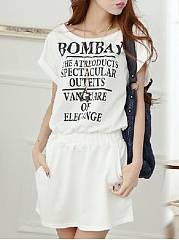 Round Neck  Letters  Short Sleeve Shift Dress