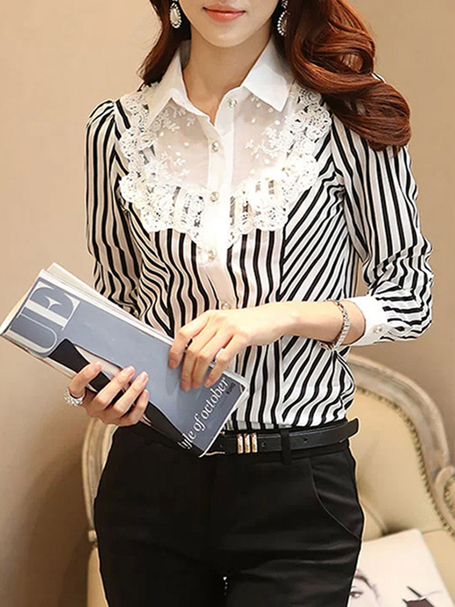Turn Down Collar  Patchwork  Striped Shirt