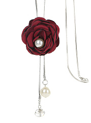 Red Rose Pearl Long Necklace