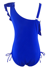 Asymmetric Neck  Drawstring Flounce  Plain One Piece
