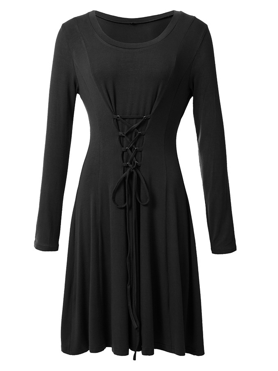 Round Neck Lace-Up Plain Skater Dress