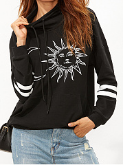 High Neck  Printed  Long Sleeve Sweatshirts