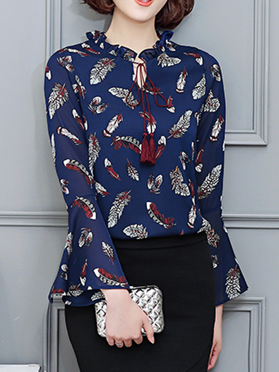 Tie Collar  Keyhole  Feather Printed  Bell Sleeve Blouse
