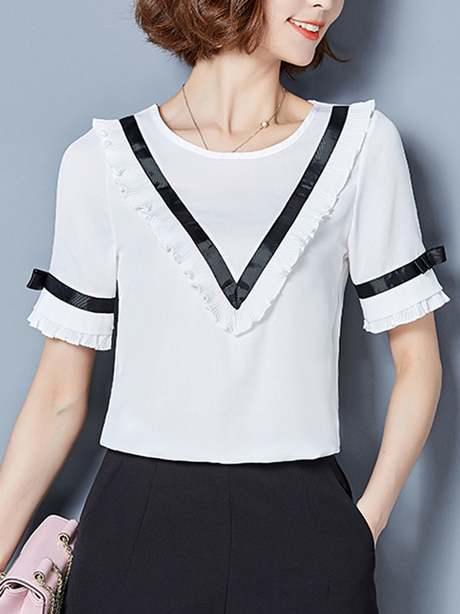 Round Neck  Ruffle Trim Short Sleeve T-Shirt
