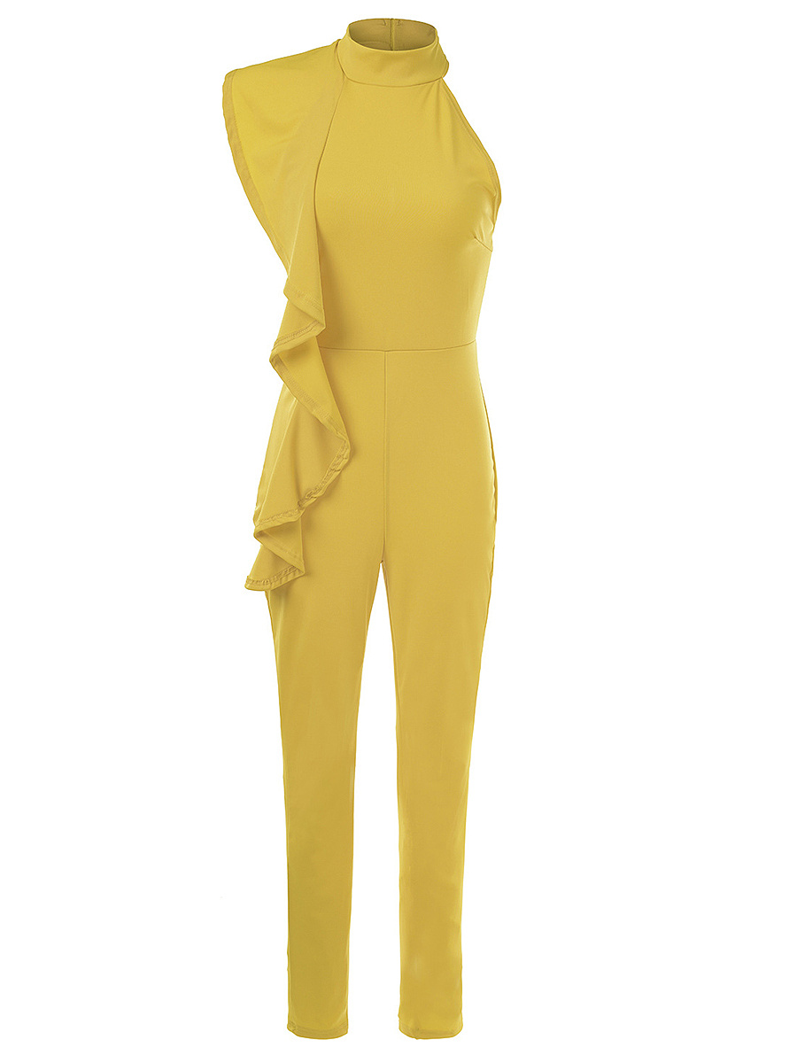 Band Collar  Flounce  Plain  Slim-Leg Jumpsuit