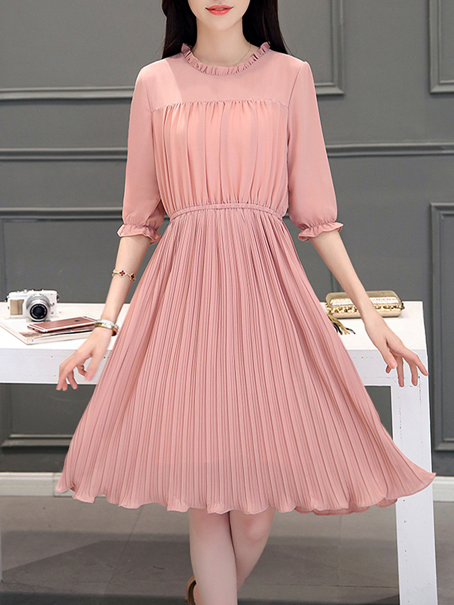 Round Neck  Elastic Waist  Plain  Chiffon Pleated Maxi Dress
