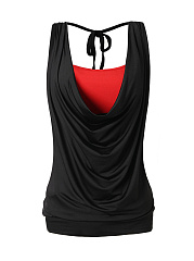 Tie Collar  Plain  Sleeveless Plus Size T-Shirts
