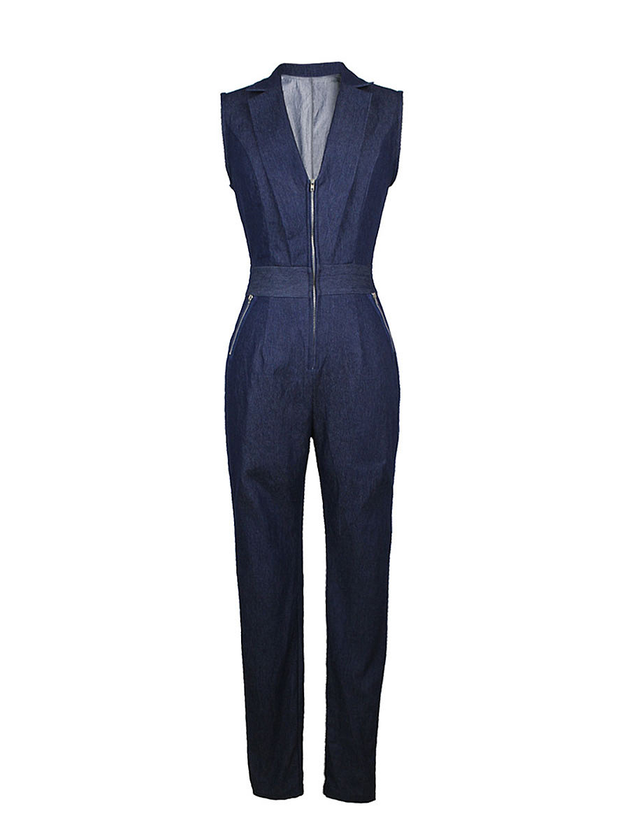 Lapel Deep V-Neck Zips Slim-Leg Denim Jumpsuit