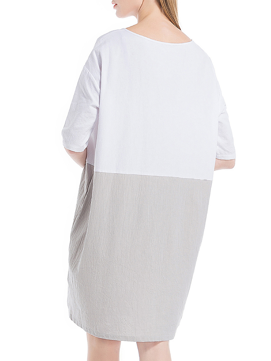 Round Neck  Patchwork  Color Block Shift Dress