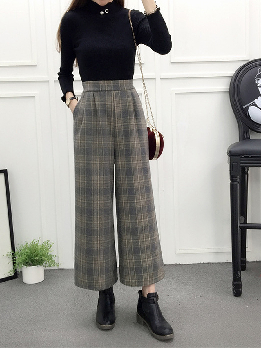 British Style Cutout  Plaid  Wide-Leg  High-Rise Casual Pants