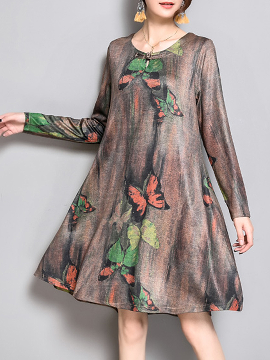 Round Neck Butterfly Printed Shift Dress