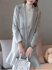 Slim Fishtail Lace Houndstooth Woolen Coat