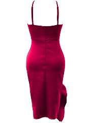 Asymmetric Neck  Asymmetric Hem  Plain Bodycon Dress