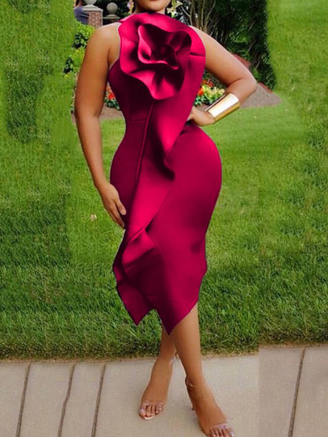 Image of Fashionmia Asymmetric Neck Asymmetric Hem Plain Bodycon Dress