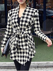 Asymmetric Neck  Belt  Houndstooth  Long Sleeve Trench Coats
