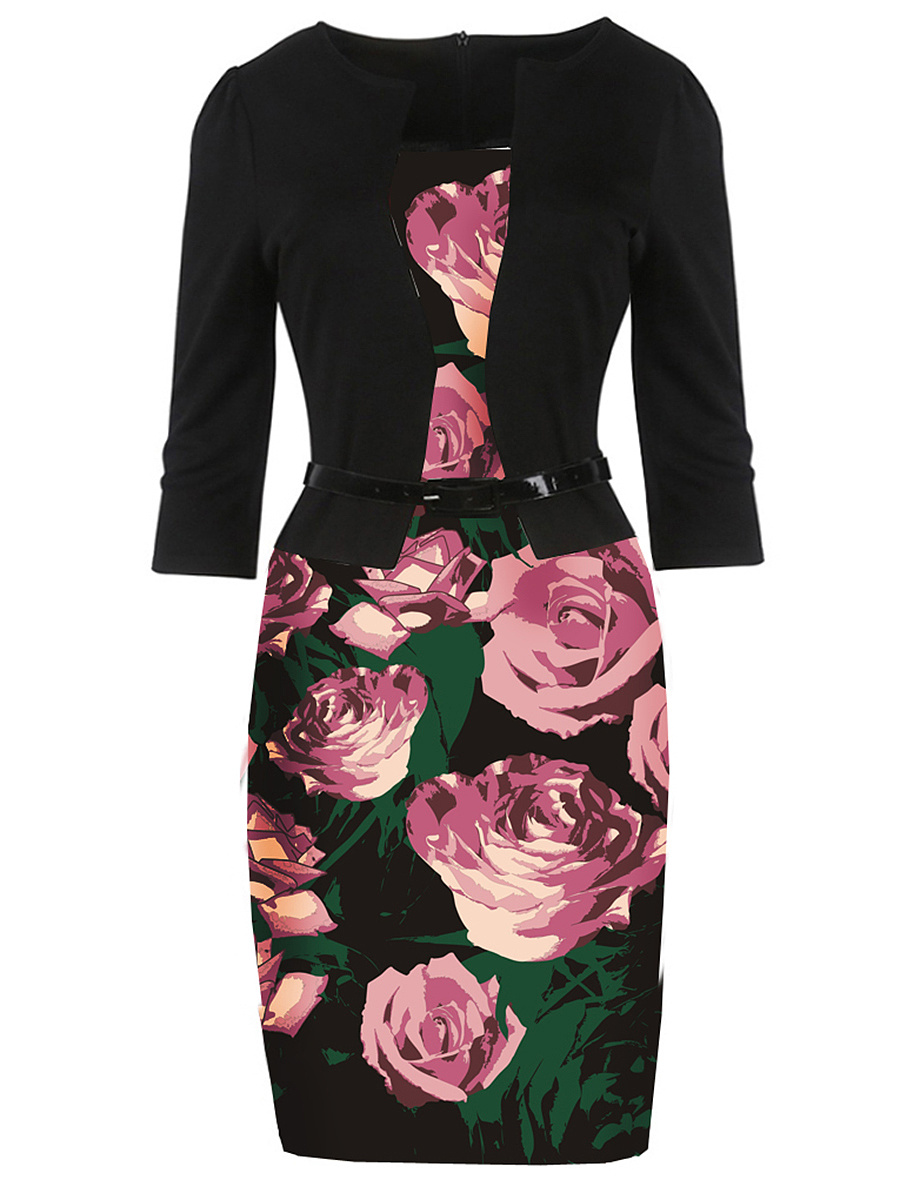 Charming Floral Printed Belt Bodycon Dress