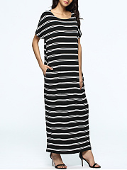 Basic Loose Round Neck Pocket Striped Maxi Dress