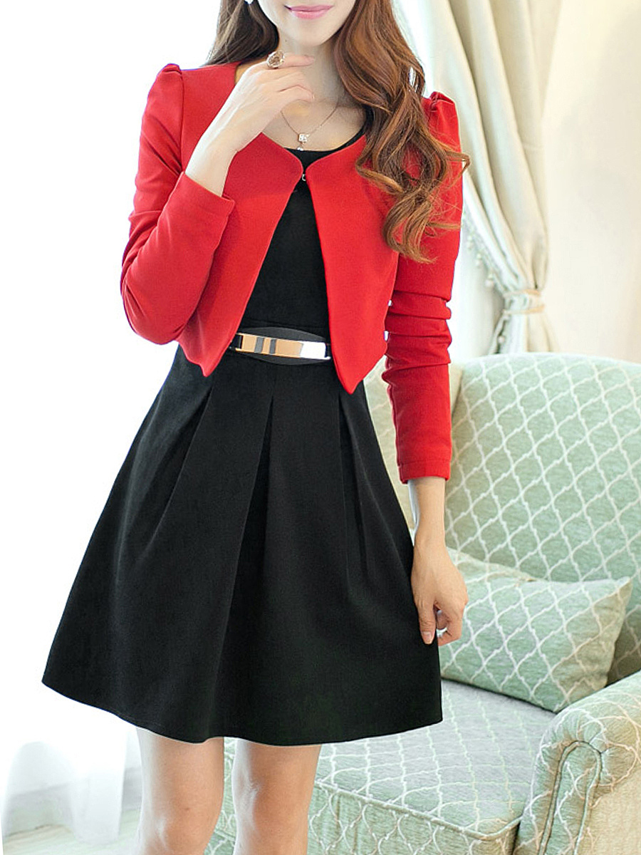 Color Block Blazer And Round Neck Skater Dress