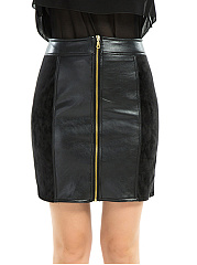 Plain Patchwork Zips PU Leather Mini Skirt