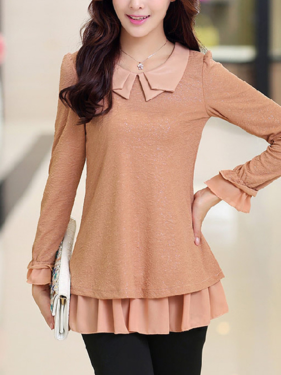 Doll Collar  Ruffled Hem Blouse