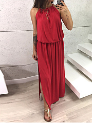 Crew Neck  Drawstring Elastic Waist  Plain Maxi Dress