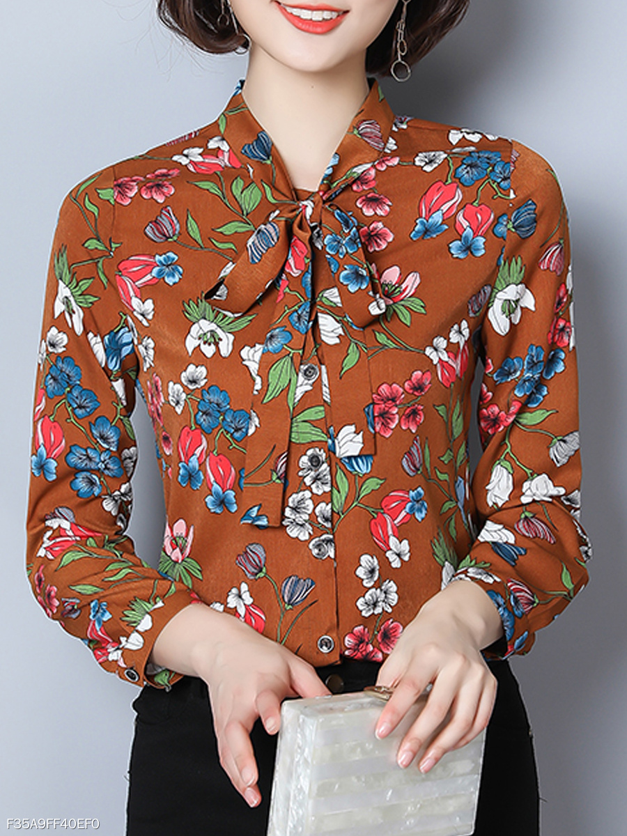 Autumn Spring  Cotton  Women  Tie Collar  Floral Printed  Long Sleeve Blouses