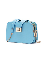 Candy Color Pu Gold Chain Crossbody Bag