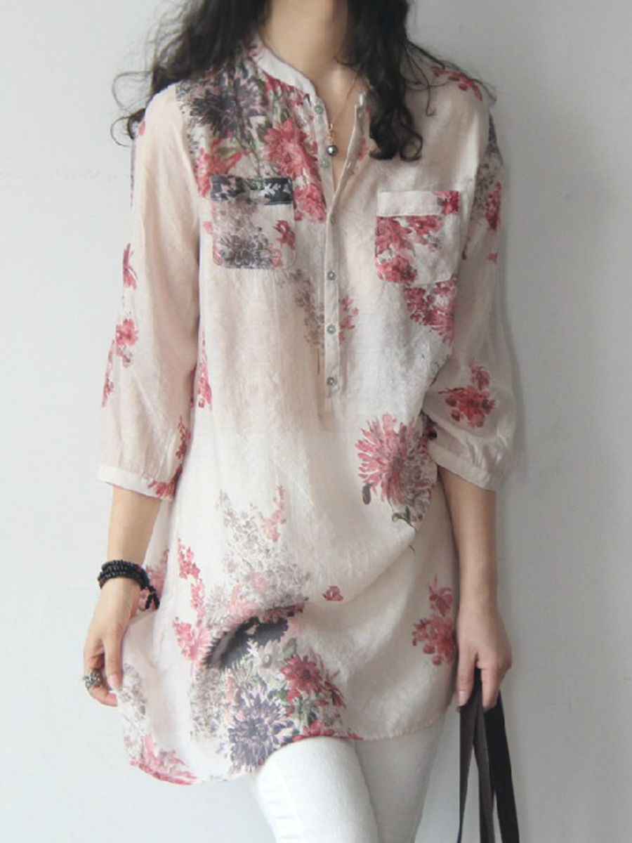 Spring Summer Cotton/Linen Women Band Collar Floral Printed Long Sleeve Blouses
