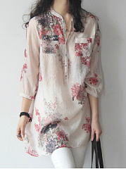 Spring Summer  CottonLinen  Women  Band Collar  Floral Printed  Long Sleeve Blouses