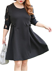Bowknot-Patchwork-Hollow-Out-Plain-Plus-Size-Flared-Dress