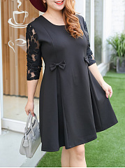 Bowknot Patchwork Hollow Out Plain Plus Size Flared Dress