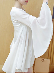 Spring Summer  Polyester  Women  V-Neck  Plain  Bell Sleeve  Long Sleeve Blouses