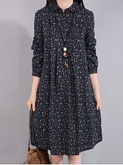 Turn Down Collar  Printed Shift Dress