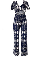 Geometric Printed Deep V-Neck Crop Top And Wide-Leg Pants