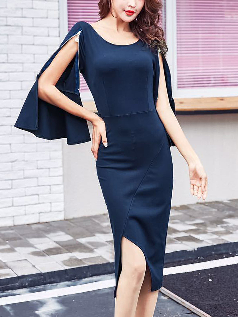Round Neck Zips Bell Sleeve Plain Slit Midi Bodycon Dress
