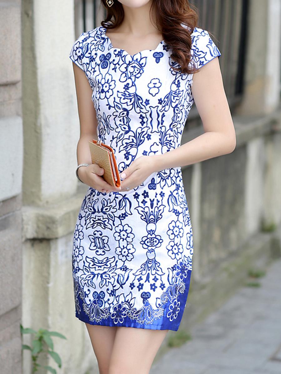 Image For Asymmetric Neck  Abstract Print Bodycon Dress