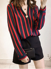 Autumn Spring  Polyester  Women  V-Neck  Decorative Button  Striped  Long Sleeve Blouses