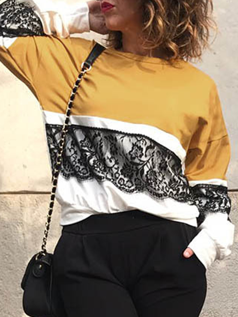 Round Neck Long Sleeve Lace Patchwork T-Shirt