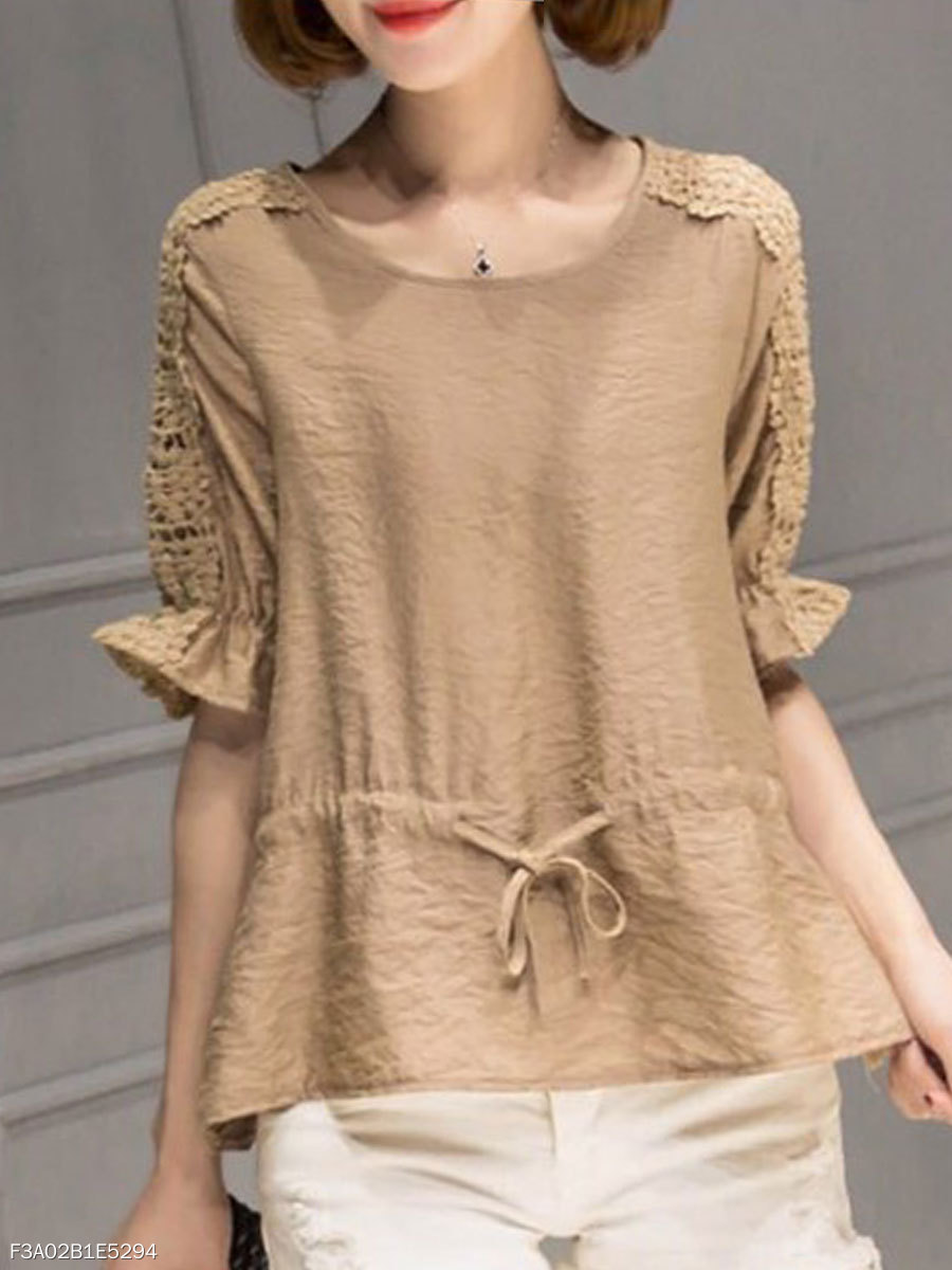 Autumn Spring  Cotton  Women  Round Neck  Drawstring  Plain  Half Sleeve Blouses
