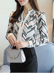 Spring  Acrylic  Women  V-Neck  Decorative Button  Zigzag Striped  Long Sleeve Blouses
