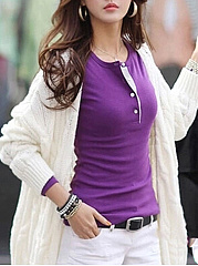 6 Color Round Neck Cotton Assorted Color Long-Sleeve-T-Shirt